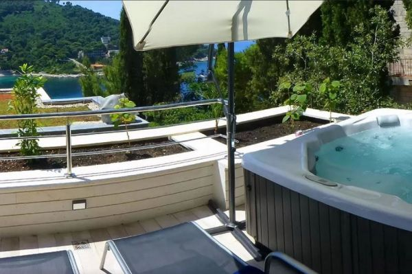 Whirlpool on the terrace of the property A1153 in Dubrovnik, Croatia.