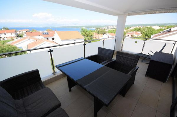 The view from the balcony in the larger apartment for sale on the island of Krk