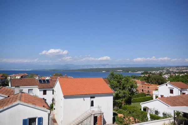 The sea view from the terrace of the apartment for sale on the island of Krk at Malinska