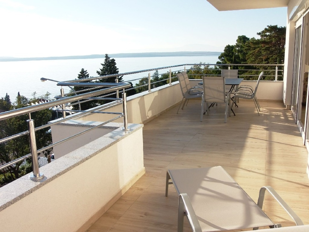 Apartment with large terrace and sea view in Croatia for sale.