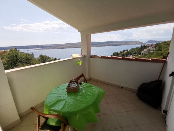 Balcony with fantastic sea view of the property A1426 at Crikvenica in Croatia.