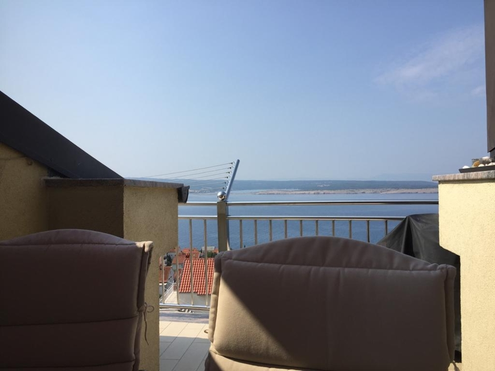 Sea view from the roof terrace of apartment A1524 in Dramalj near Crikvenica, Croatia.
