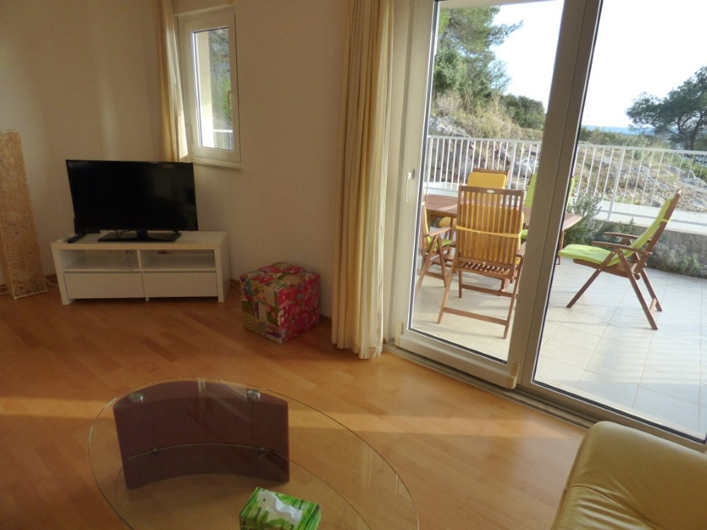 Living area with access to the large terrace with beautiful sea views, Ciovo Island.