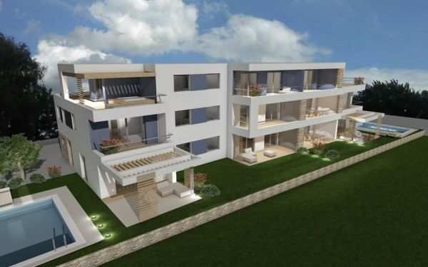 Apartments on three floors with garden and sea view in Novigrad, Istria.