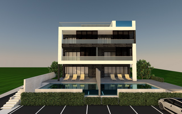 Apartments in new building with swimming pool for sale near Zadar in Croatia.
