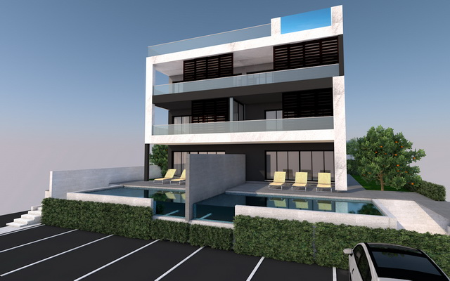 Front view of apartments with garden and swimming pool, for sale in Croatia.