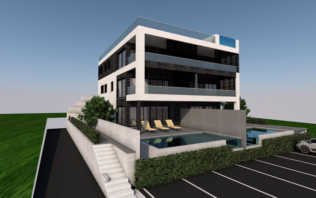 Modern new build apartments with sea views and swimming pool to buy.