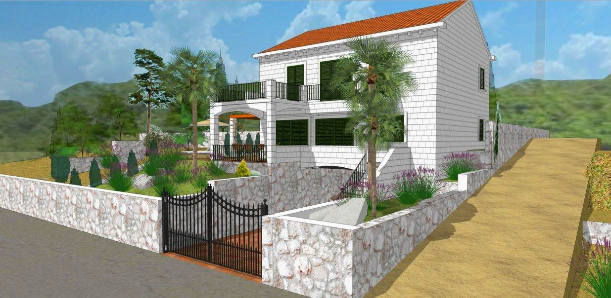 The construction project with planning permission on the land for sale in South Croatia