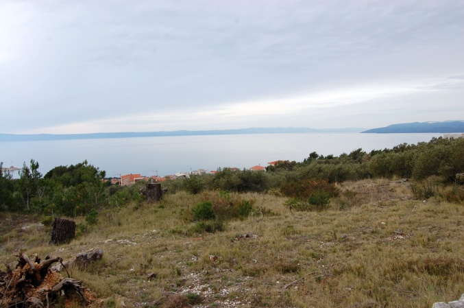 The ocean view from the building plot for sale in Makarska. Panorama Scouting - Estate Agents Croatia