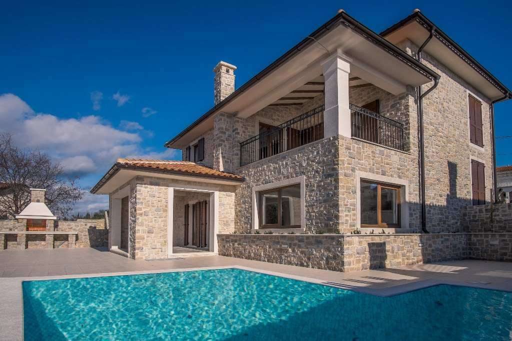 The new house with stone facades on the island of Krk in Croatia for sale.