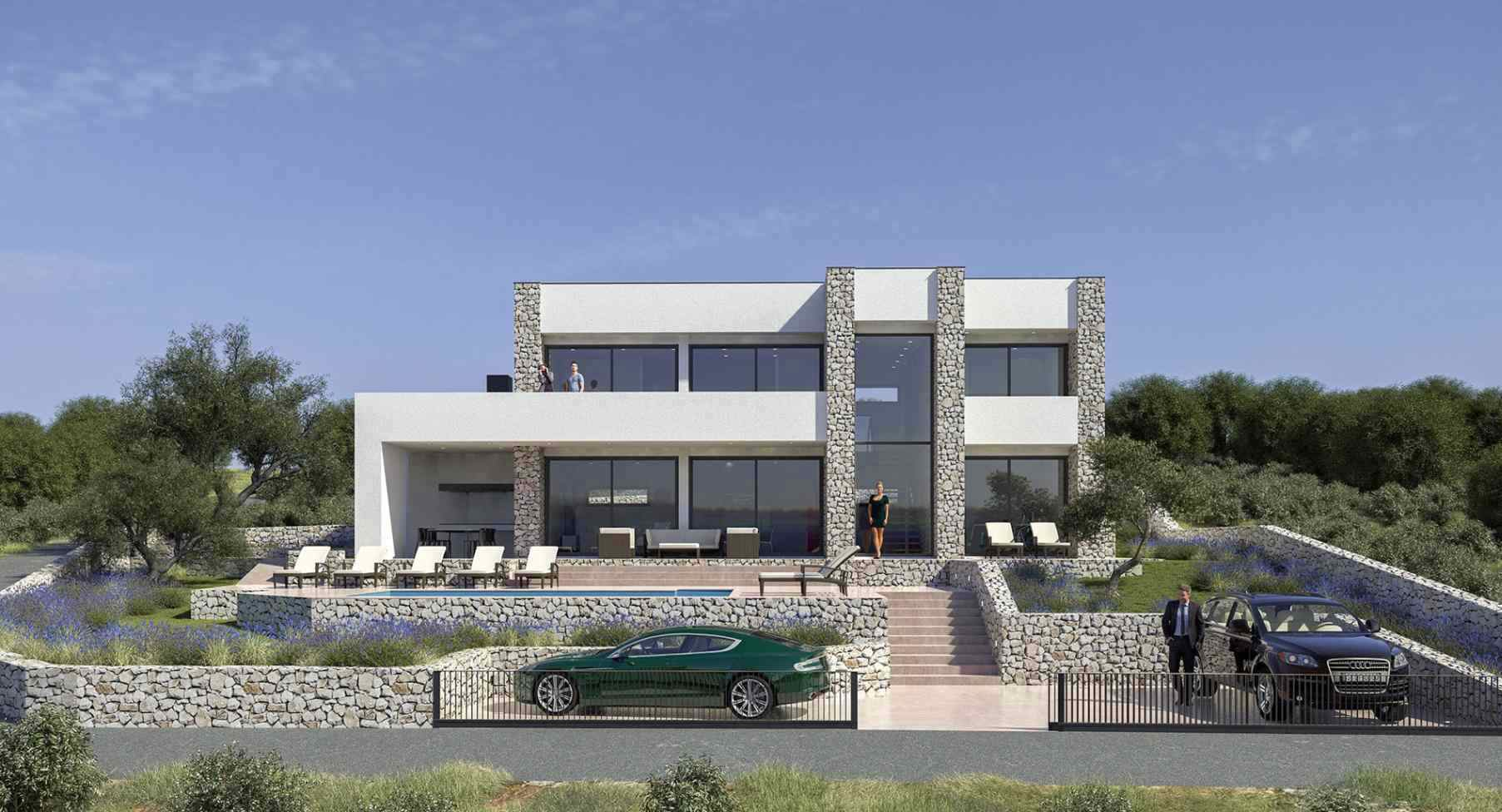 Front view of the modern villa for sale on Krk Island in Croatia, Adriatic