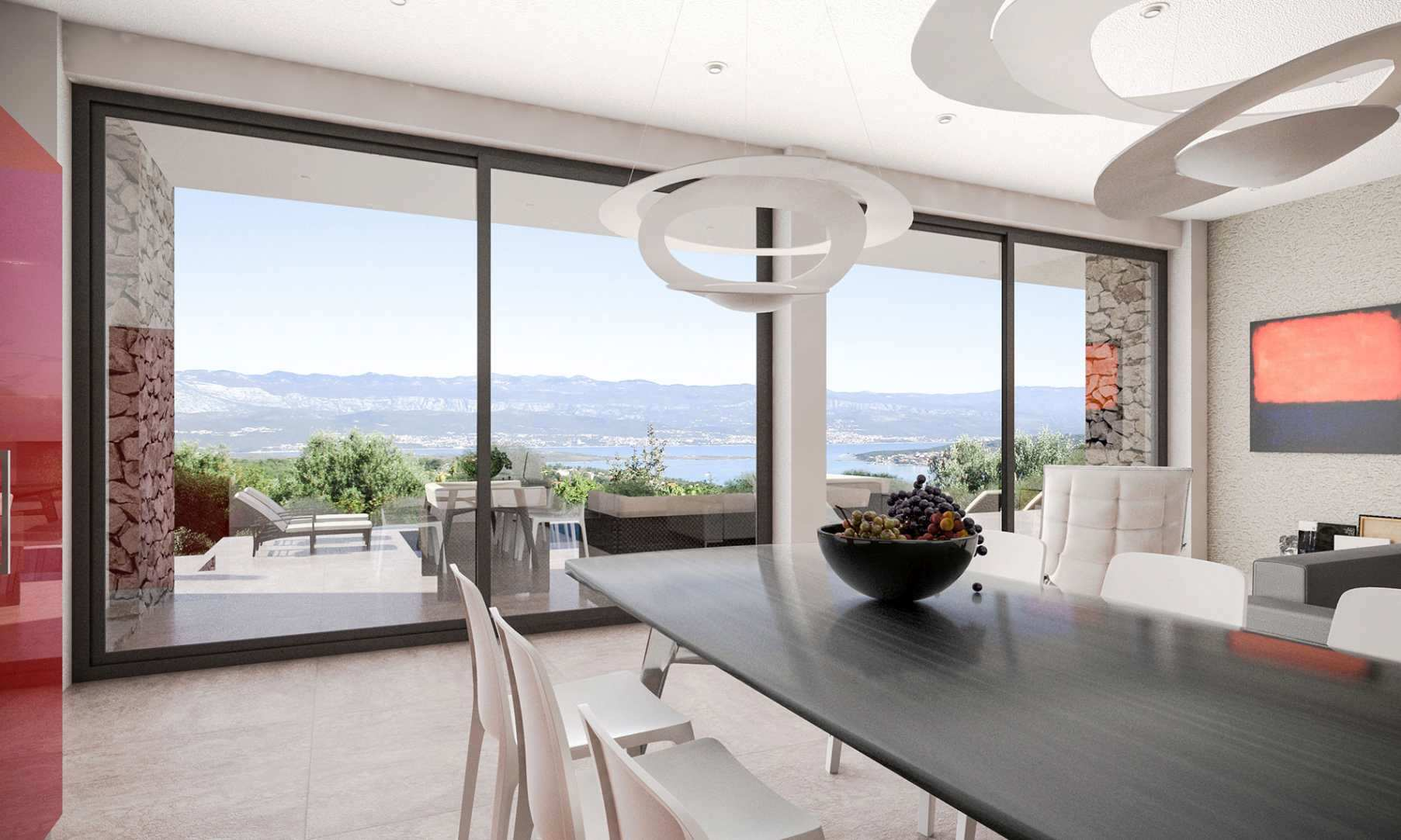 A view of the interior of the modern villa for sale in Croatia, island of Krk