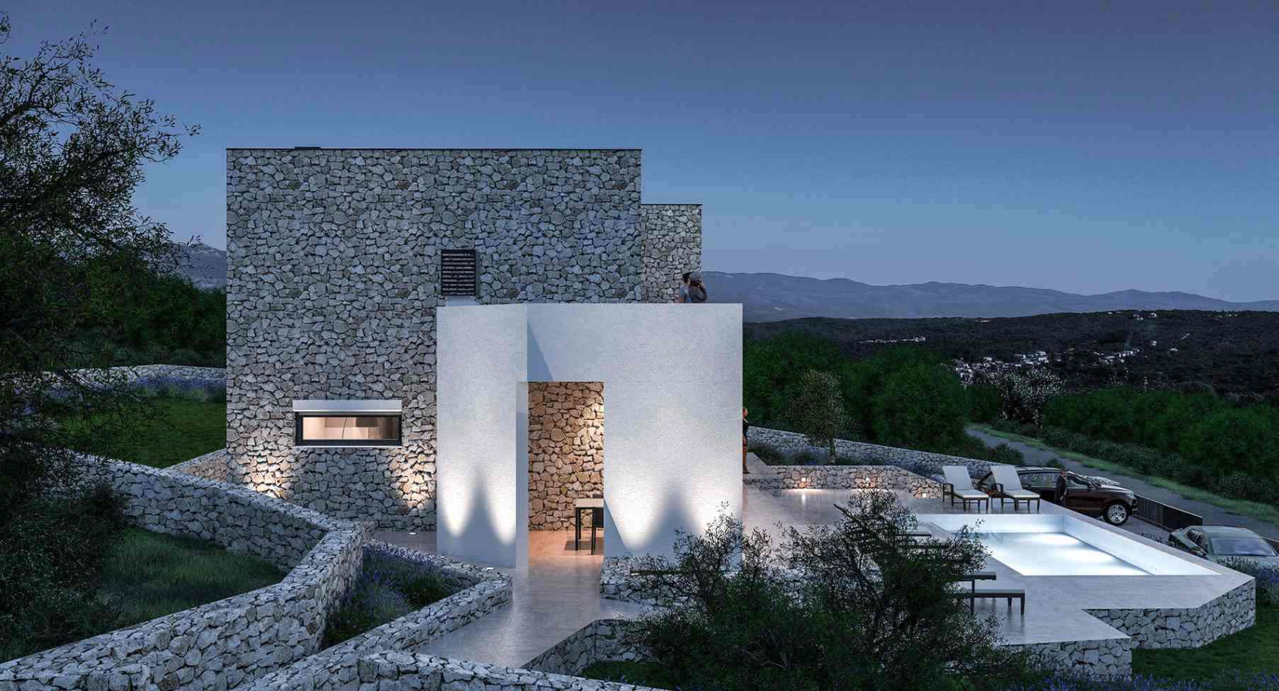 Night view of the modern villa for sale with swimming pool in Croatia