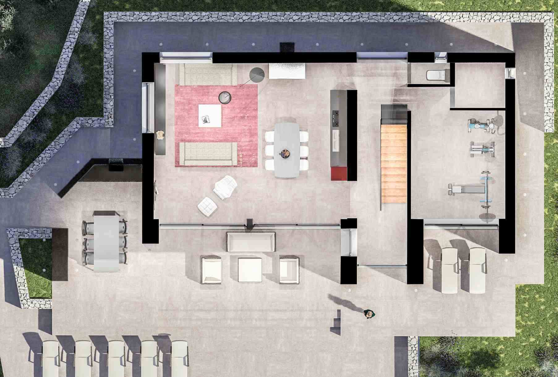 Floor plan of the modern villa for sale