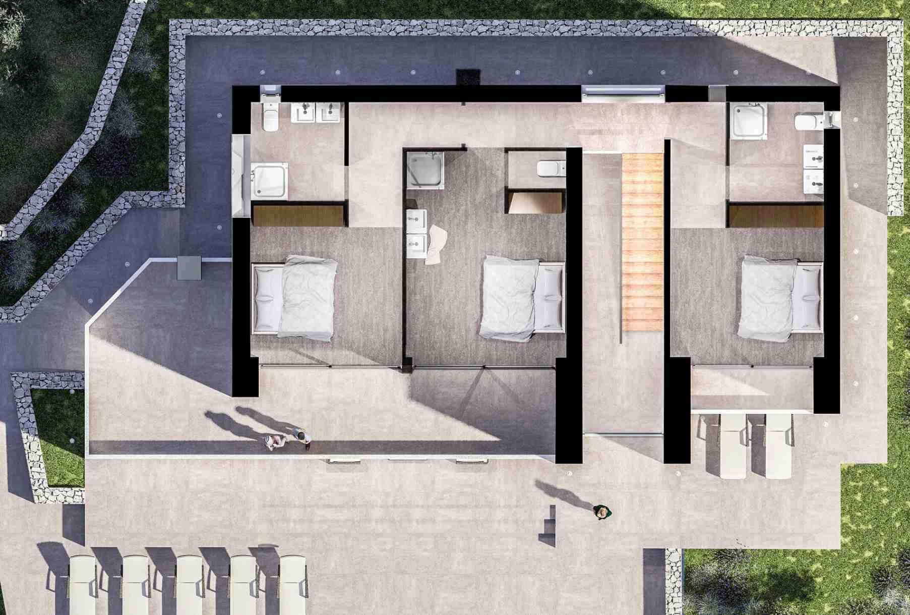 another floor plan of the modern villa for sale in Croatia