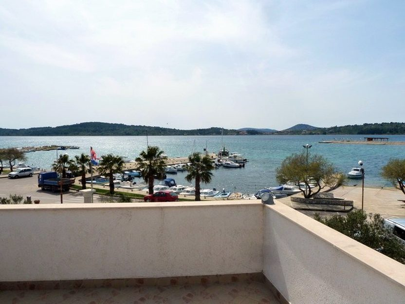The sea view from the balcony of the apartment building in Vodice for sale. Properties by the sea - Panorama Scouting