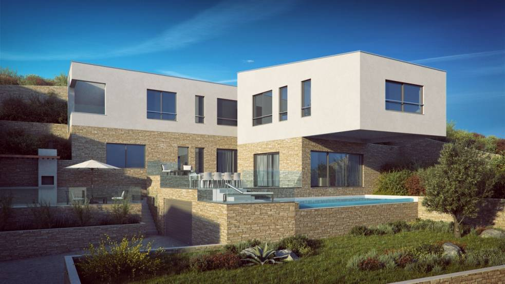 The modern new villa in the south of Ciovo offers also a swimming pool. Real estate agent Croatia - Panorama Scouting