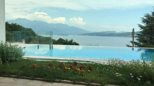 The sea view from the infinity pool of the new villa for sale in Montenegro, near Dubrovnik.