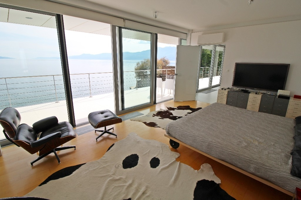 View of the sea from the bedroom of the villa H1154 in Rijeka, Croatia.