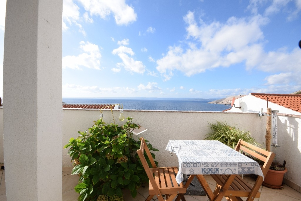 Terrace with sea view of the property H1262 in the village Stara Baska on the island of Krk.