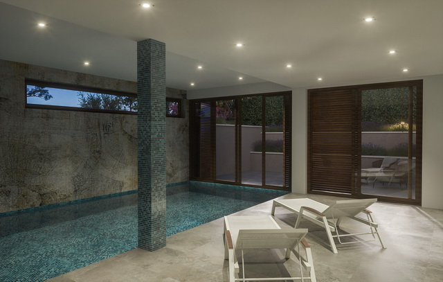 Swimming pool with relaxation area