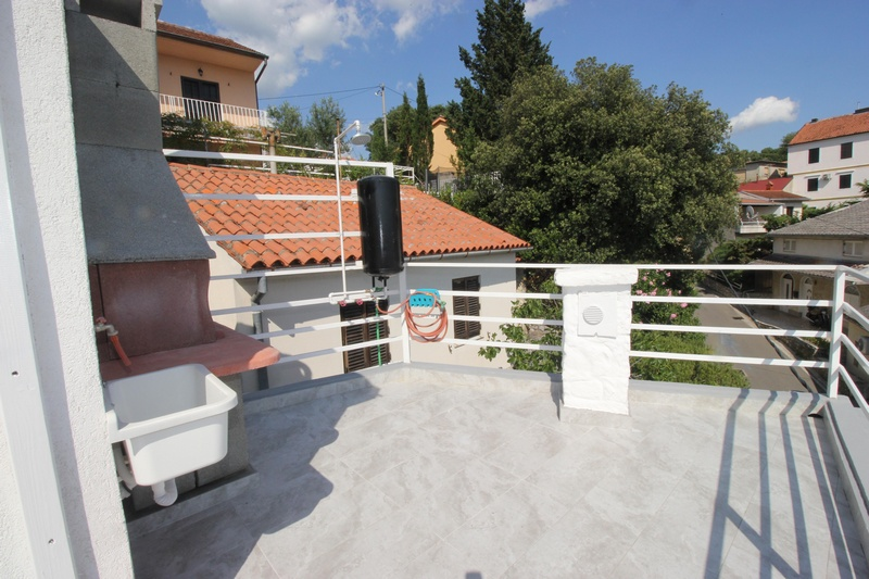 Spacious roof terrace of property H1473, which is for sale in Novi Vinodolski, Croatia.