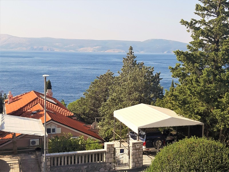 View from the balcony of the surroundings and the sea in Novi Vinodolski - house for sale Croatia.