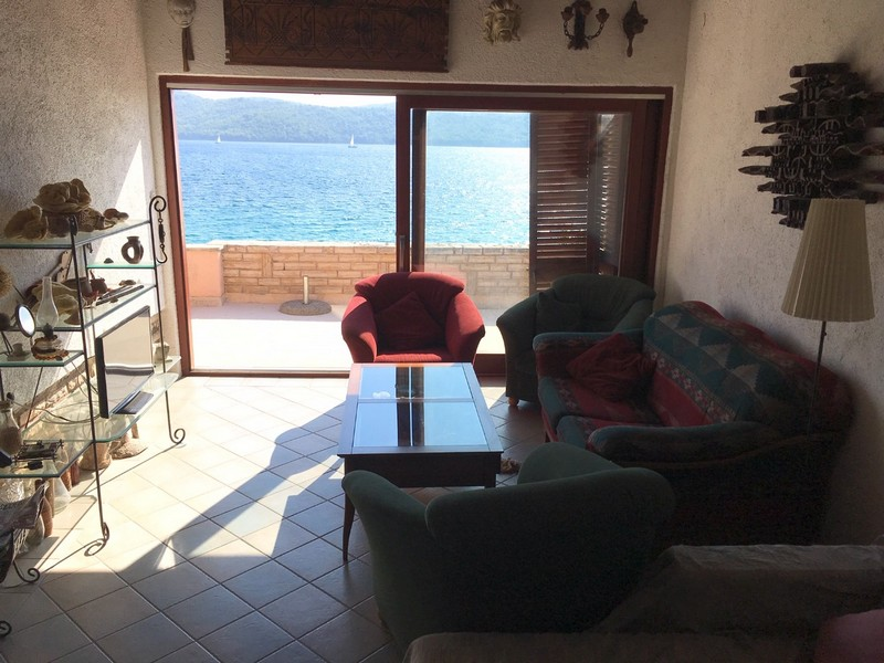 View from the living room with balcony to the sea in North Dalmatia - Buy a house Croatia.