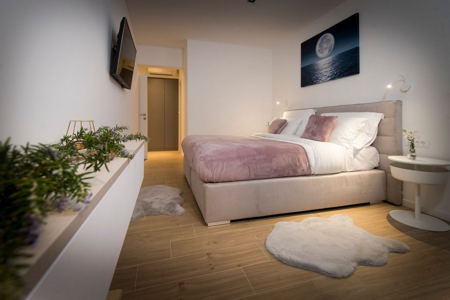 View of the bedroom with high quality furniture and modern design on the island of Solta.