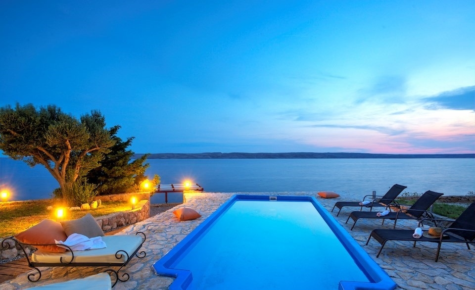 So is the sea view from one of the covered sun terraces of the luxury villa by the sea in Croatia