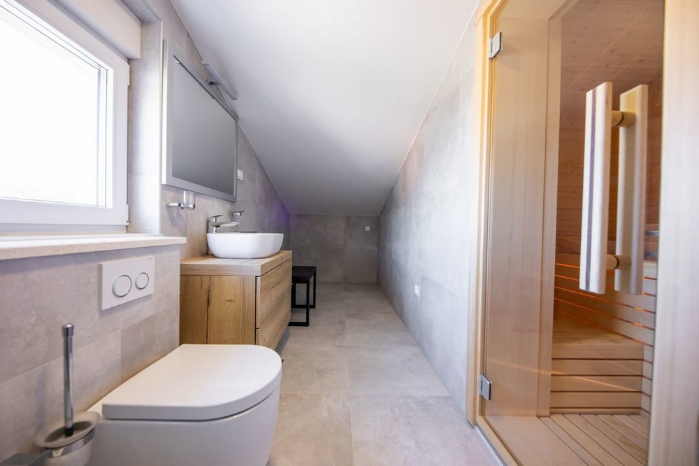 View into the bathroom with sauna of the property H742 near Rogoznica in Croatia.