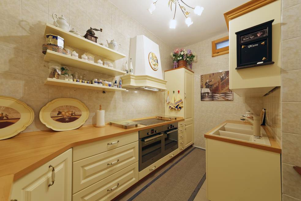 The kitchenette in one of the apartments of the luxury hotel in Croatia, which is for sale