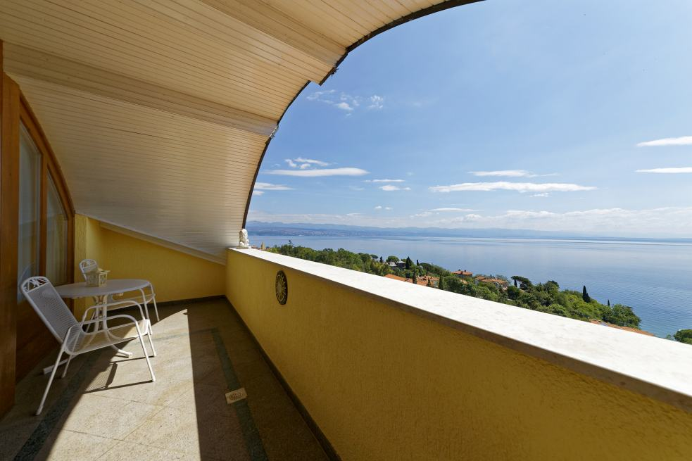 The sea view from the apartment hotel in Croatia is excellent. Real Estate Croatia - Panorama Scouting