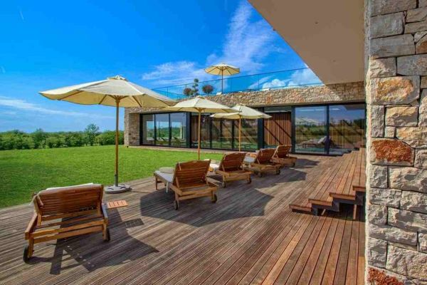 Sun terrace of the villa for sale near Porec in Croatia.