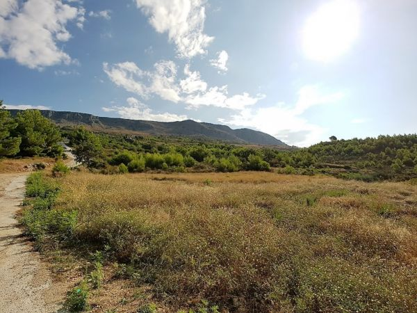 Land in a beautiful location in Croatia with views of mountains and sea.