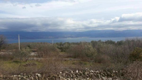 The sea view from the plot that is for sale on Krk in Croatia.