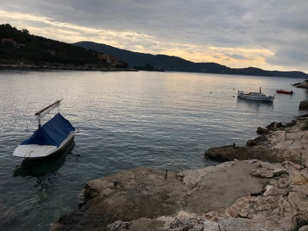 The beach of the plot by the sea for sale in Croatia, Korcula.