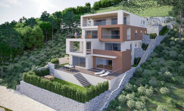Near Primosten, Dalmatia: new modern seafront apartments