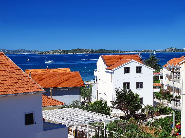View from the balcony of  property A582 which is for sale in Vodice, Dalmatia.